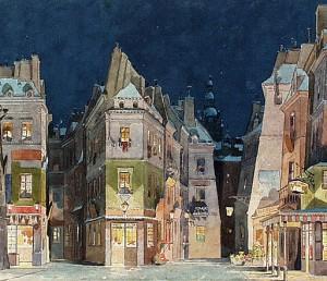 Paris bohème, Adolf Hohenstein, peinture d'un décor pour La Bohème, de Puccini.