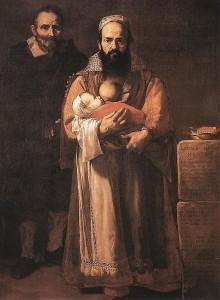 Représentant une femme qui allaite à côté de son mari, ce tableau est troublant car la féminité et la masculinité ne tiennent qu'à un sein. La femme à barbe, José de Ribera, 1631, Musée Fondación Duque de Lerma , Tolède